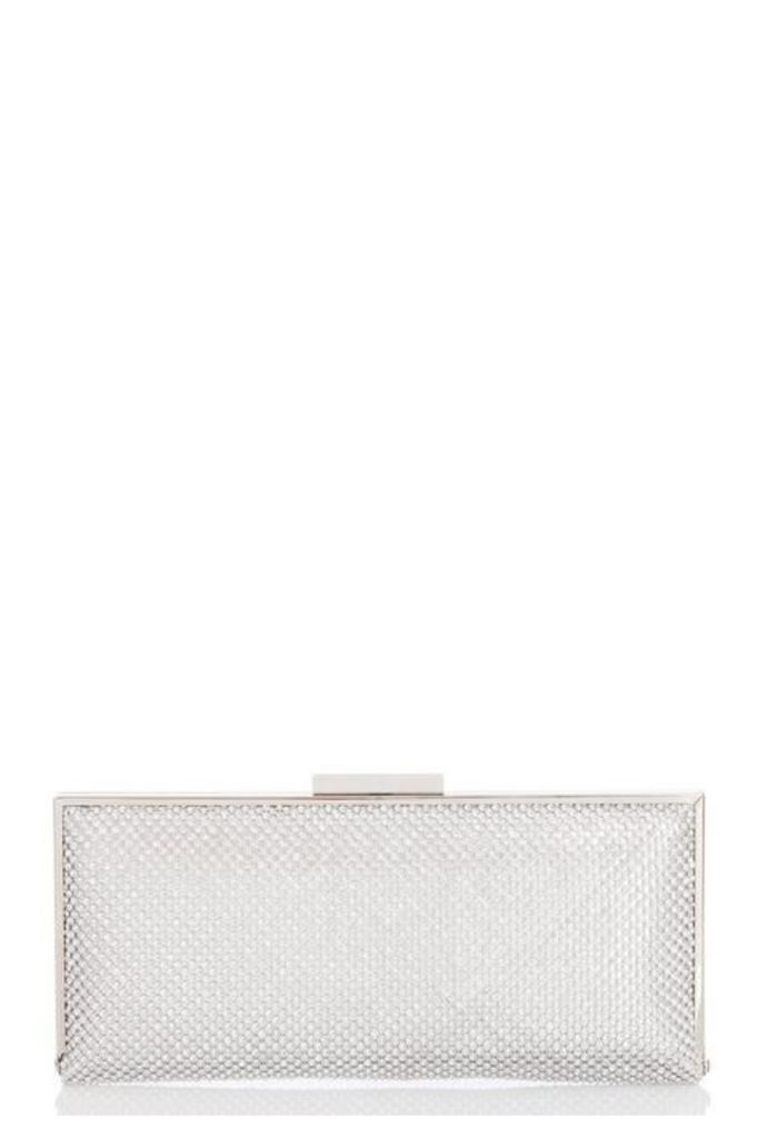 Quiz Silver Diamante Clutch Bag