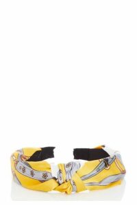 Quiz Grey and Mustard Scarf Print Headband
