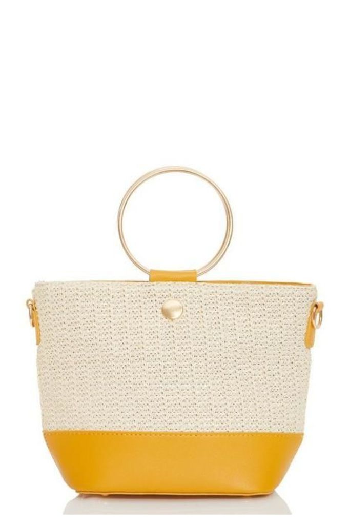 Quiz Mustard Woven Circle Handle Bag