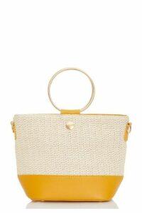 Quiz Mustard Woven Circle Handle Bag