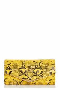 Quiz Yellow Snake Print Envelope Bag