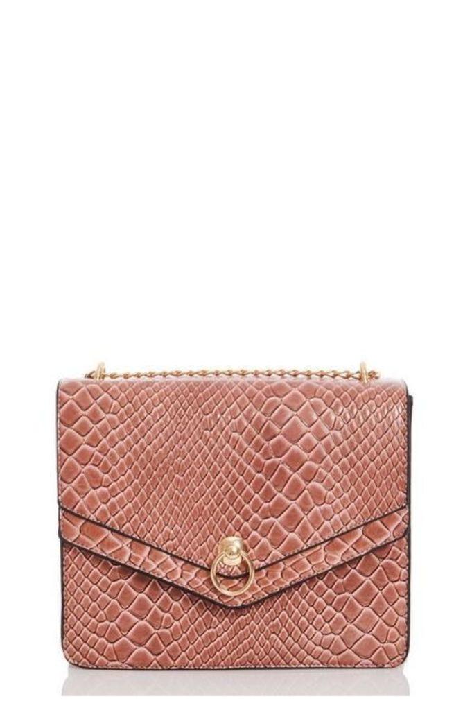 Quiz Pink Snake Print Across Body Bag
