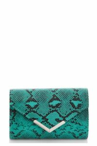 Quiz Turquoise Green Snake Print Clutch Bag