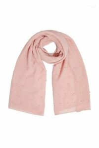 Quiz Pink Ribbed Pearl Scarf