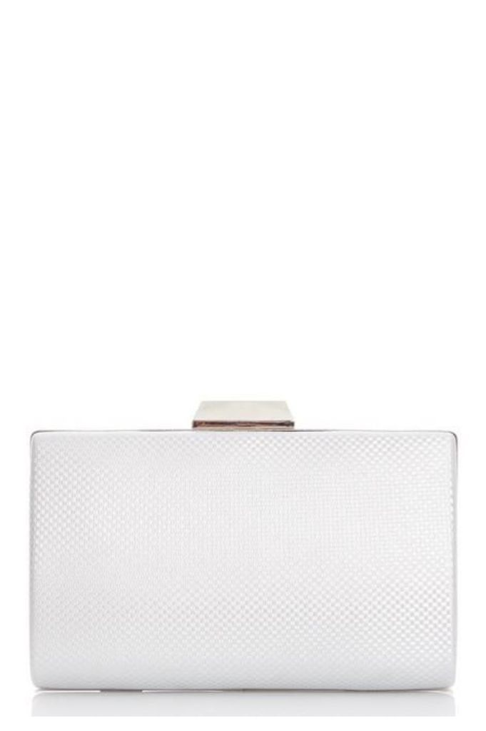 Quiz Silver Shimmer Weave Box Clutch