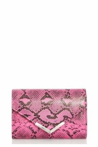 Quiz Pink Snake Print Clutch Bag