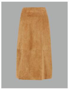 Autograph Suede A-Line Midi Skirt