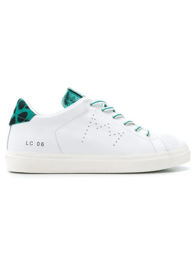 Leather Crown metallic strip lace-up sneakers - White