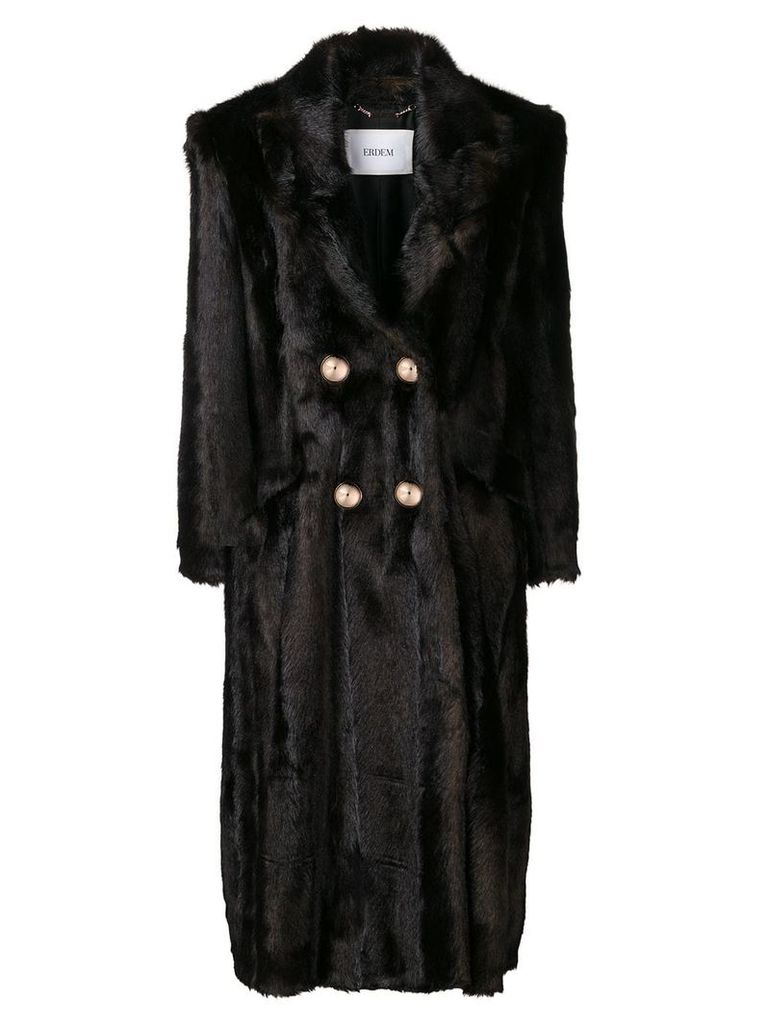 Erdem faux fur double-breasted coat - Brown