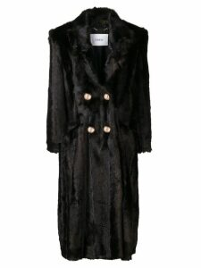 Erdem faux fur double-breasted coat - Brown