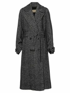 Burberry Herringbone Wool Silk Blend Double-breasted Coat - Black