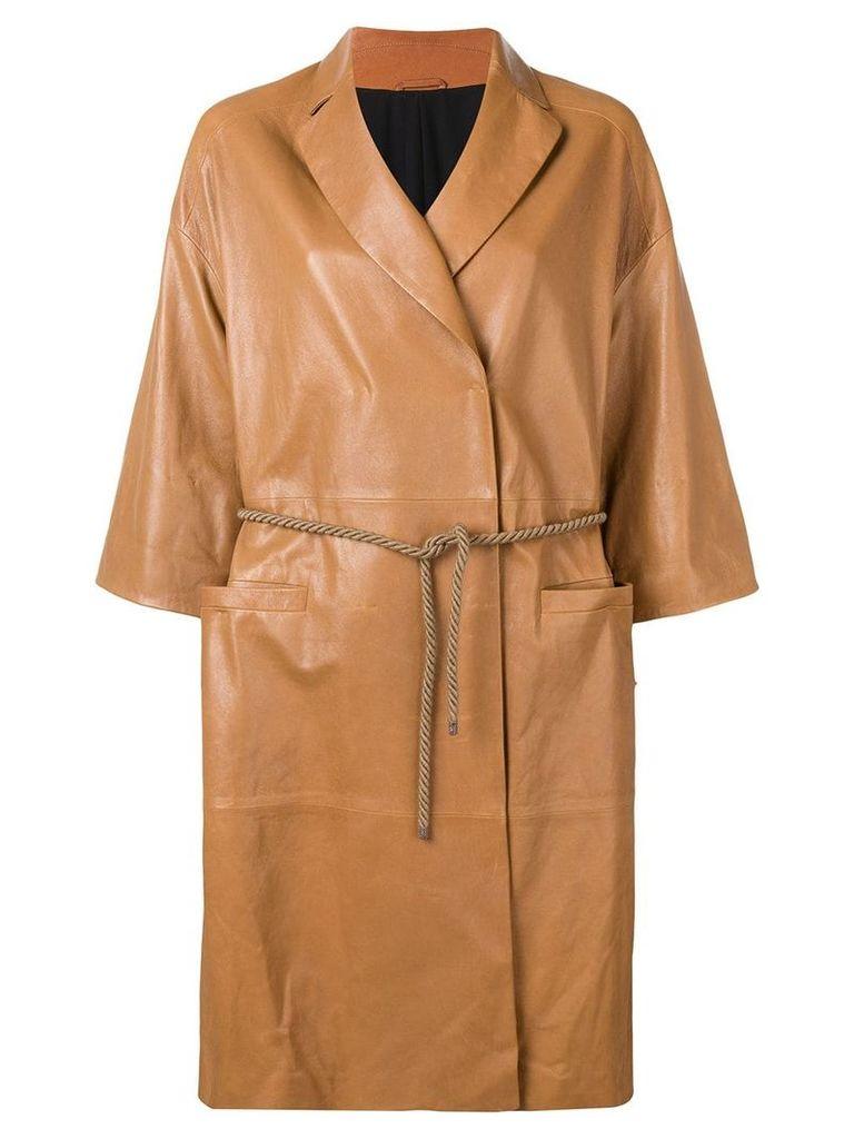 Brunello Cucinelli wrap-around coat - Brown