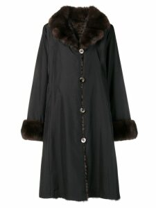 Liska fur collar coat - Black