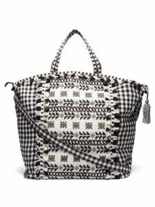 Dodo Bar Or - Oana Gingham Jacquard Cotton Beach Bag - Womens - Black Multi
