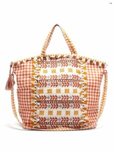 Dodo Bar Or - Oana Gingham Jacquard Cotton Beach Bag - Womens - Brown Multi