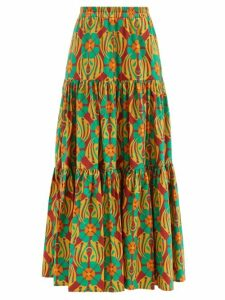 Rochas - Floral Brocade Pleated Skirt - Womens - Blue Multi