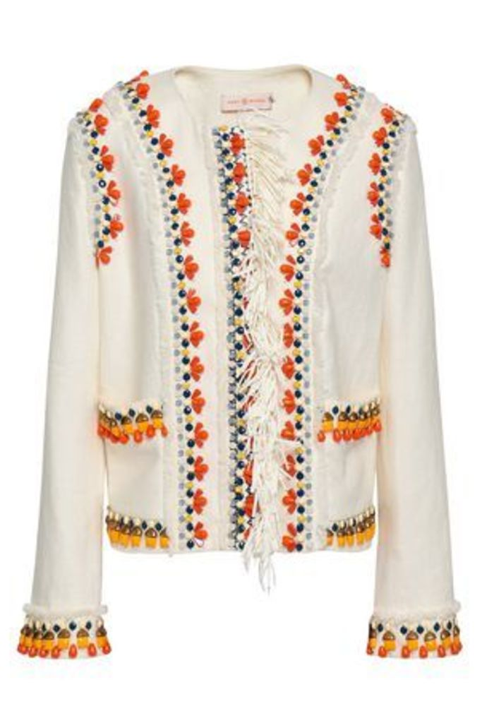 Tory Burch Woman Embellished Linen Jacket Ivory Size 6