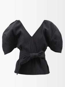 Preen By Thornton Bregazzi - Ashley Floral Print Silk Devoré Wrap Dress - Womens - Light Blue