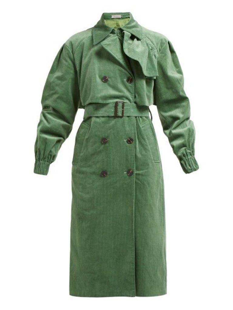 Preen Line - Mia Cotton Corduroy Trench Coat - Womens - Green