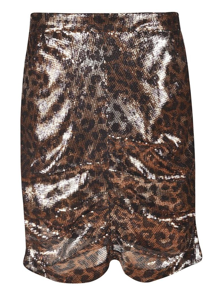 MSGM Ruched Leopard Skirt