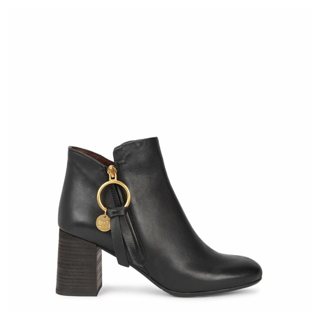 See By Chloé Louise 50 Black Leather Ankle Boots