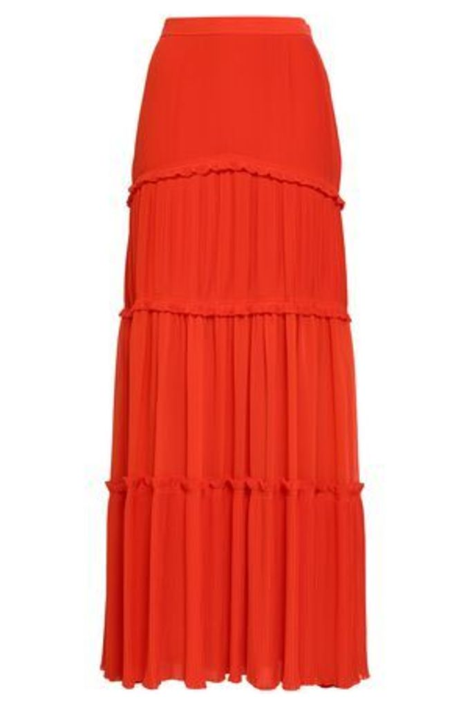 Tory Burch Woman Tiered Pleated Crepe Maxi Skirt Bright Orange Size 8
