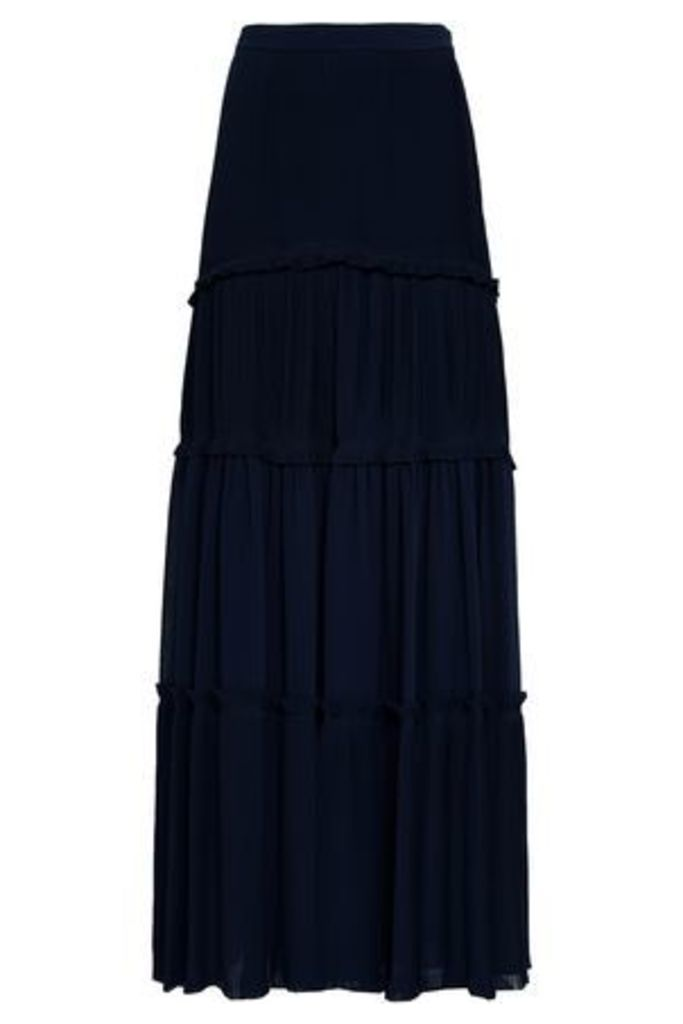 Tory Burch Woman Tiered Pleated Crepe Maxi Skirt Midnight Blue Size 4