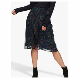 Brora Liberty Tie Waist Silk Chiffon Skirt, Midnight Scribble