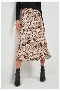 Womens Next Beige Paisley Print Midi Skirt -  Cream