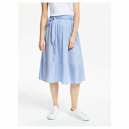 People Tree Gemma Stripe Skirt, Blue
