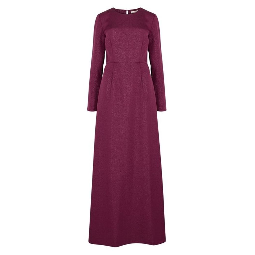 Stine Goya Bordeaux Ribbed Satin Maxi Dress