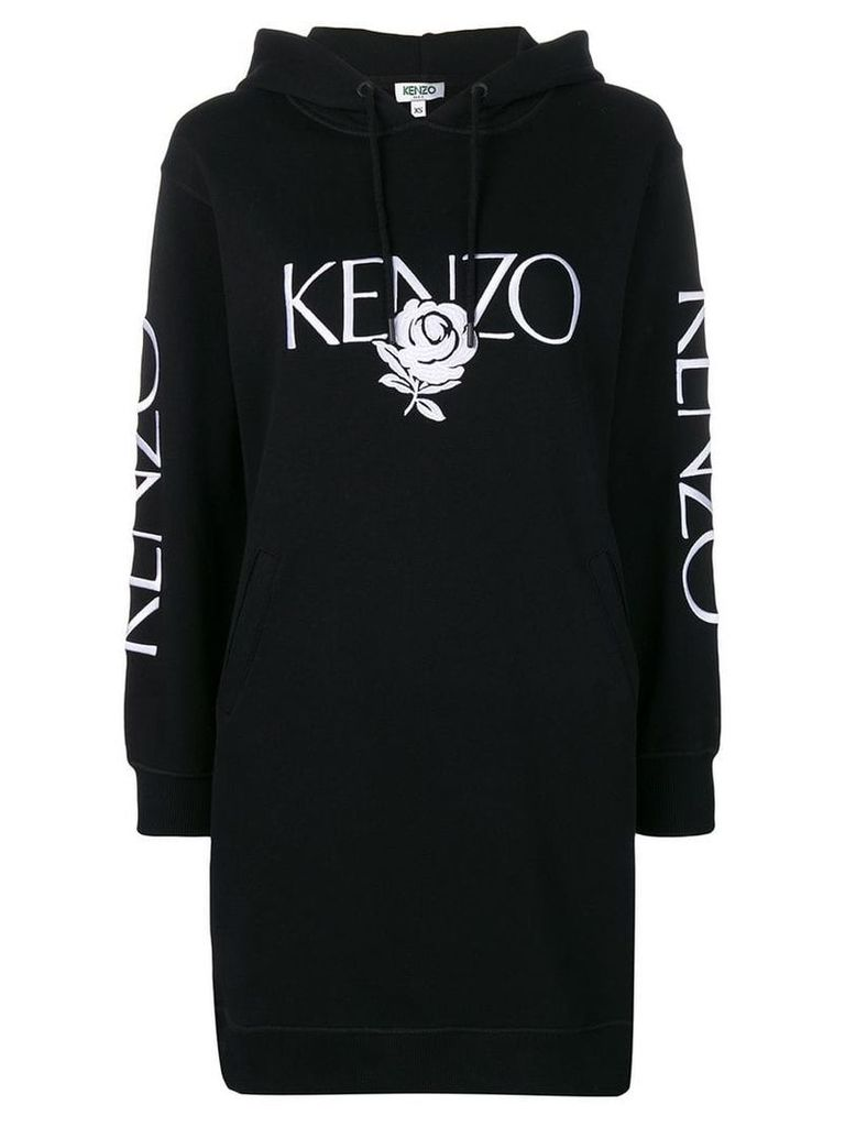 Kenzo embroidered rose dress - Black