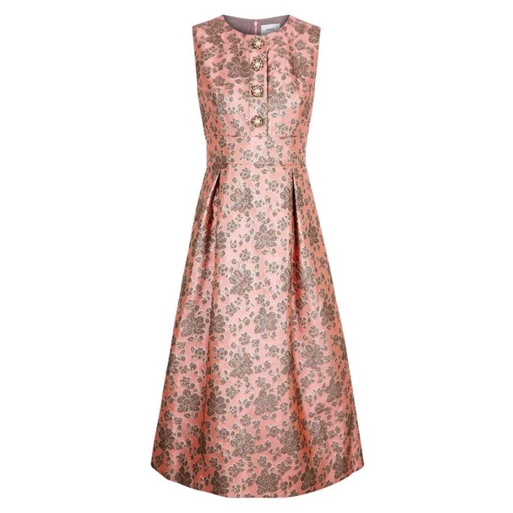 Erdem Davinia Pink Jacquard Midi Dress