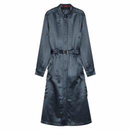Sies Marjan Lise Steel Blue Satin Shirt Dress