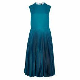 Calvin Klein 205W39NYC Turquoise Pleated Twill Midi Dress