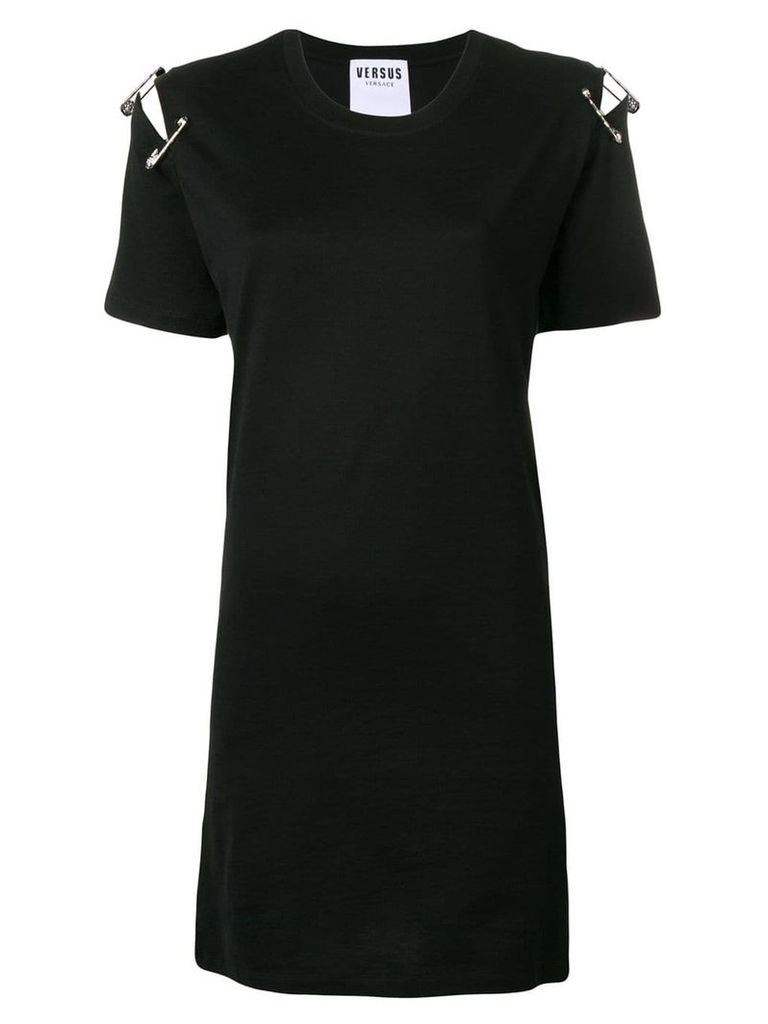 Versus safety pin attached T-shirt dress - Black