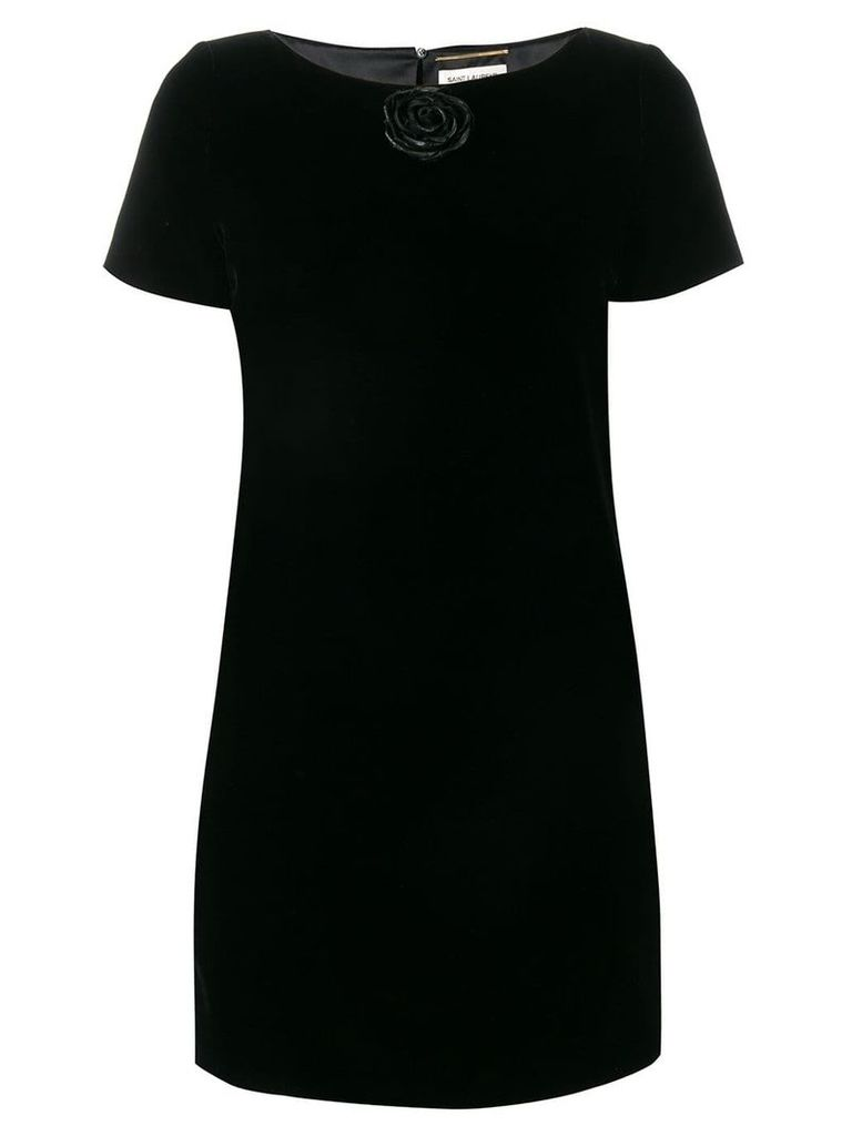 Saint Laurent rose appliqué dress - Black