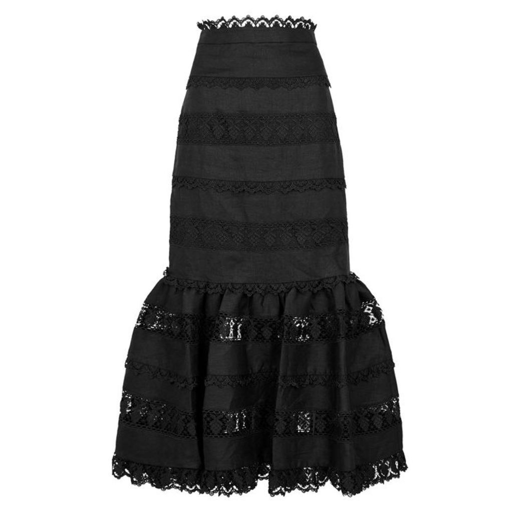 Zimmermann Wayfarer Lace-trimmed Linen Midi Skirt