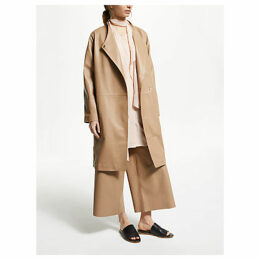 Modern Rarity Leather Wrap Coat, Brown