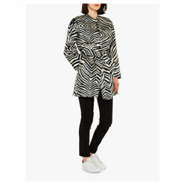 PS Paul Smith Tie Belt Zebra Print Coat, Black