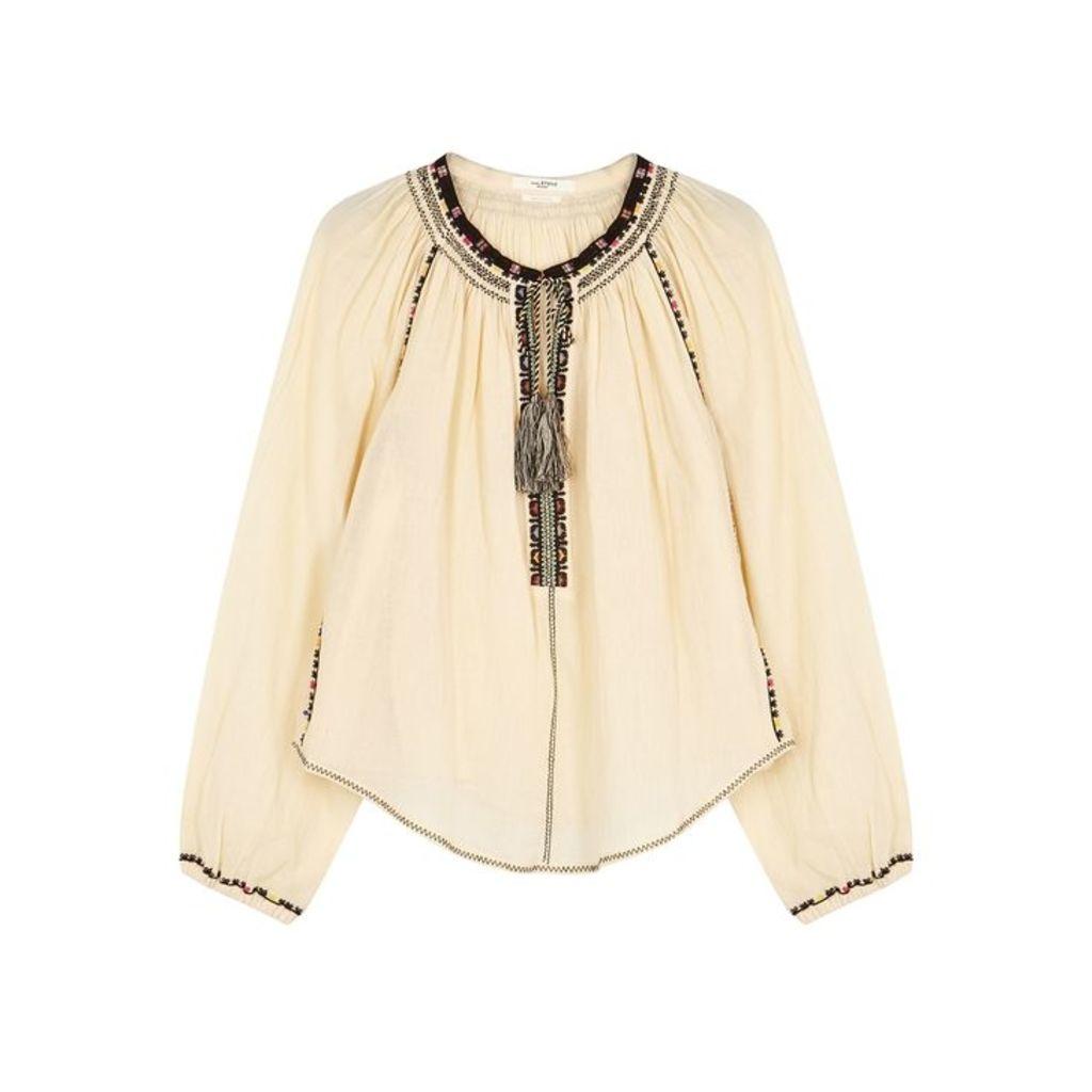 Isabel Marant Étoile Rina Cream Embroidered Cotton Top