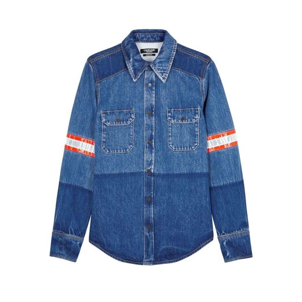Calvin Klein 205W39NYC Blue Reflective-stripe Denim Shirt
