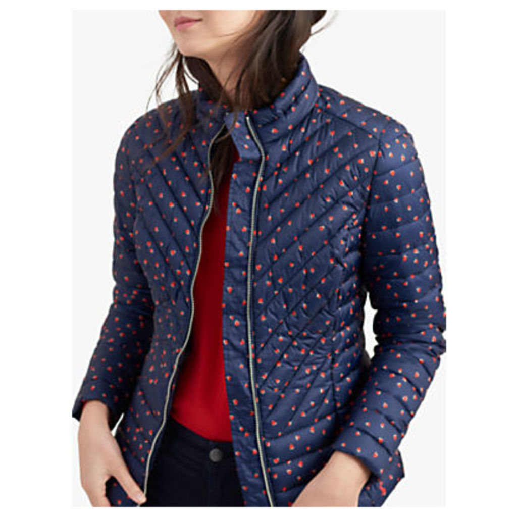 Joules Elodie Heart Print Quilted Jacket, Navy