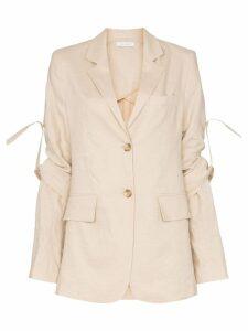 Delada rolled sleeves linen and cotton blend blazer - Neutrals