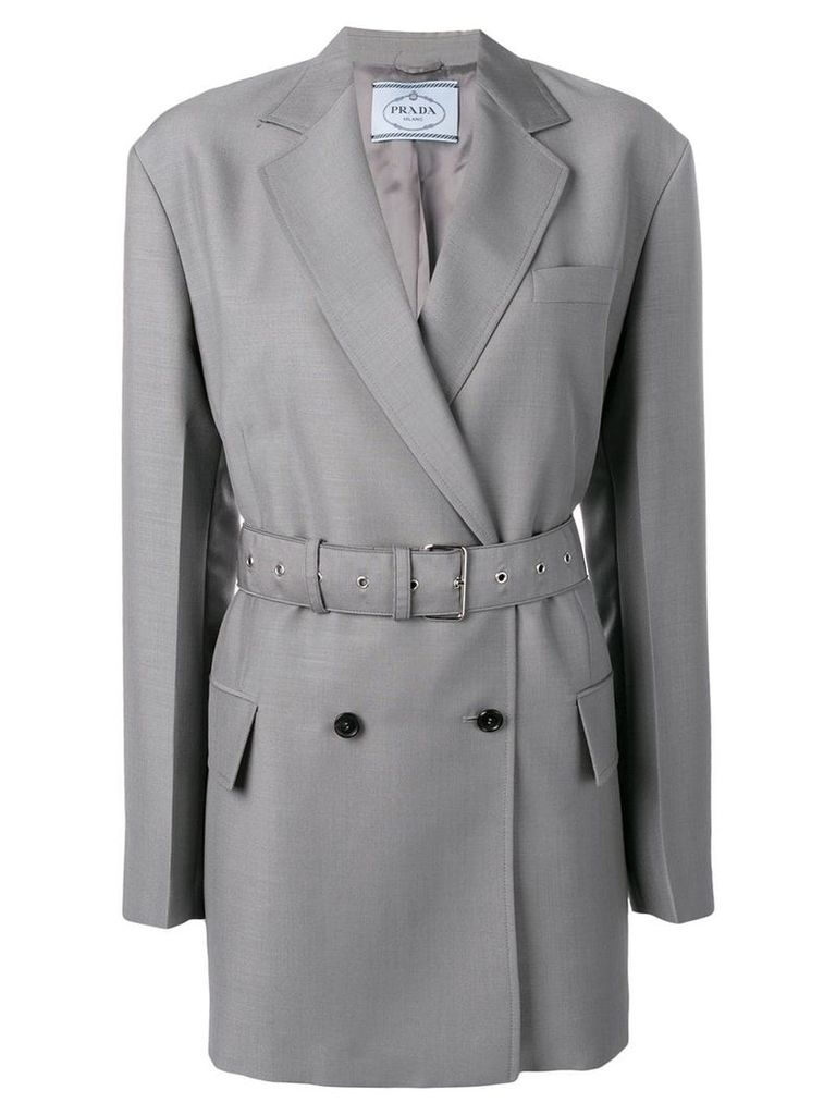Prada double breasted belted jacket - Grey