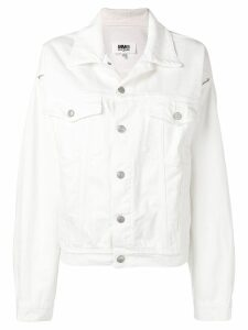 Mm6 Maison Margiela slit sleeve denim jacket - White