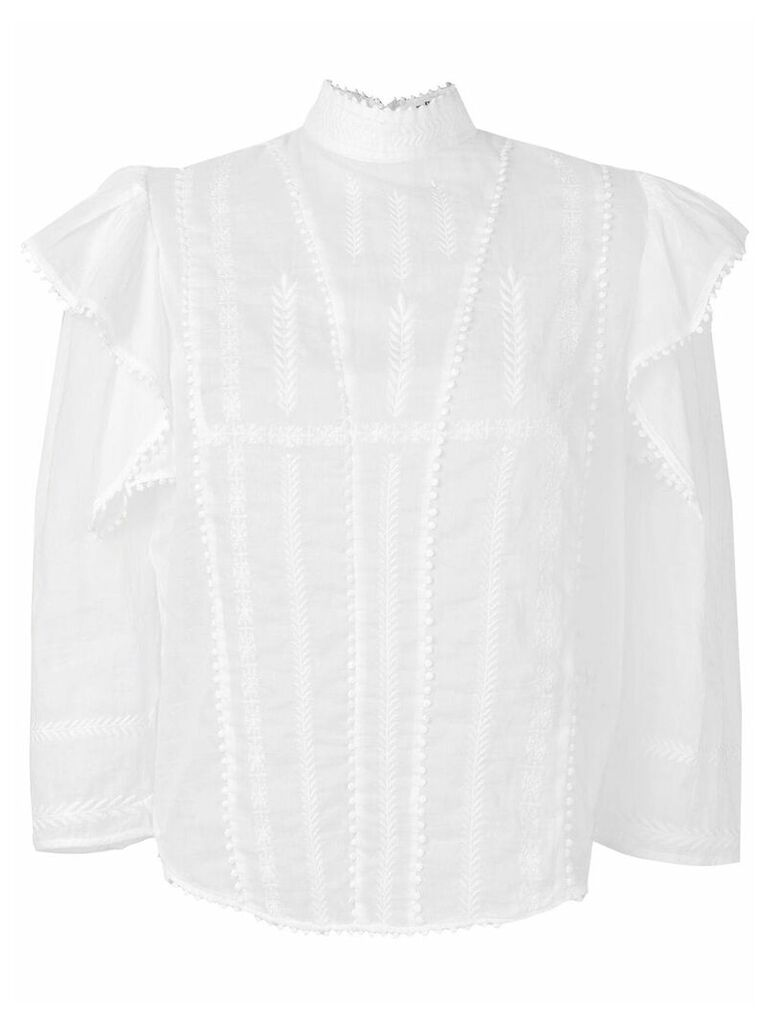 Isabel Marant Étoile embroidered ruffle blouse - White