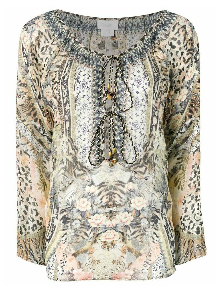 Camilla mixed print blouse - Brown