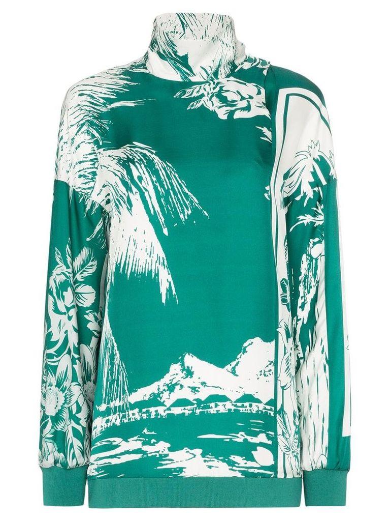 Tibi silk printed funnel neck top - Green