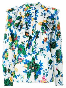 MSGM floral print ruffled shirt - White